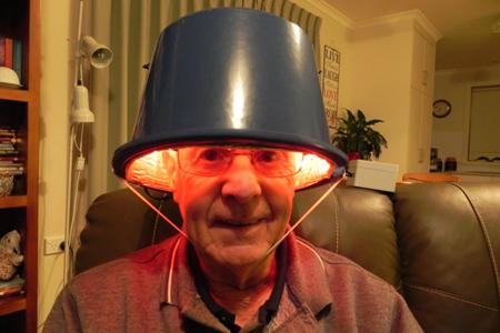 Max Burr wearing Parkinson's Helmet